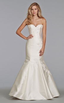 Captivating Sweetheart Neckline Fit and Flare Dress With Lace Appliques