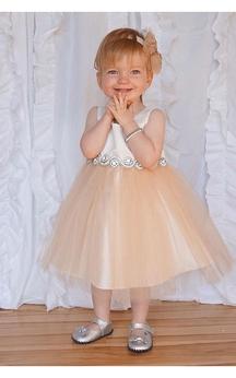 Sleeveless Satin Bodice A-line Tulle Tea Length Dress With Rhinestone Waist