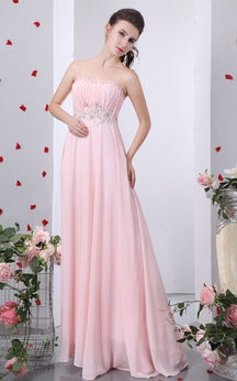 Strapless Ruched Dress With Beading and Pleating