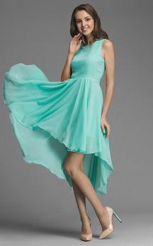 Bateau Sleeveless Chiffon High Low Dress With Sash