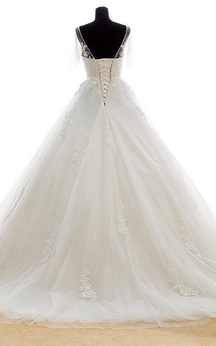 Lace-Appliqued Tulle V-Neck Dress With Beadings and Lace-Up Back