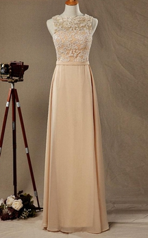Illusion Lace Bateau Sleeveless A-line Chiffon Long Dress With Open Back