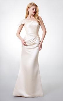 Elegant Ruffle Cap-sleeved Soft-ruched Long Satin Bridesmaid Dress