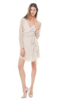A-Line V-Neck Chic Dress With Long Illusion Sleeves