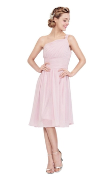 One-shoulder Knee-length Chiffon Dress With Pleats