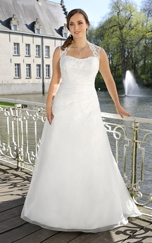 A-Line Floor-Length Queen Anne Sleeveless Satin Illusion Lace Dress
