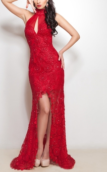 Mermaid Floor-Length Sweep Halter Sleeveless Lace Split Front Beading Straps Dress