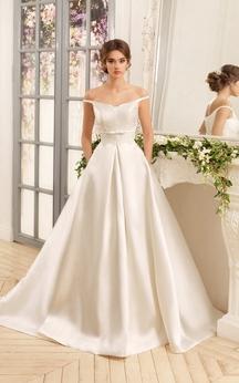 A-Line Floor-Length Off-The-Shoulder Lace-Up Satin Dress