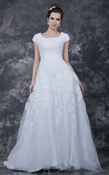 Modesty Square Lace Wedding Gown With Tulle Skirt