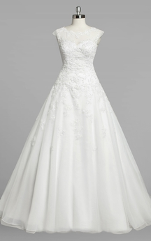 Jewel Neck Cap Sleeve A-Line Organza Wedding Dress With Lace Bodice