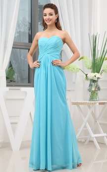 Ethereal Sweetheart Long Chiffon Dress With Ruching