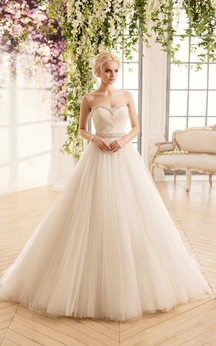 Ball Gown Long Sweetheart Sleeveless Lace-Up Tulle Dress With Beading And Criss Cross