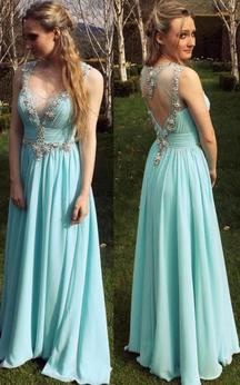 A-line Floor-length Sleeveless Beading Appliques Chiffon Dress