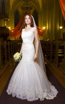 Sleeveless V-Neck Mermaid Lace Gown With Low-V Back and Satin Sash