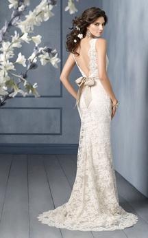 Graceful Bateau Neckline Floor Length Lace Dress With V Back