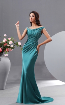 Sexy Off-Shoulder Stretch Satin Mermaid Gown With Sequins