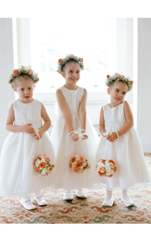Lovely Jewel White Princess Flower Girl Dress 2016 Bowknot Sleeveless
