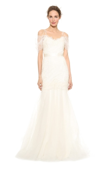 Long A-line Organza Dress With Satin Sash and Spaghette Straps