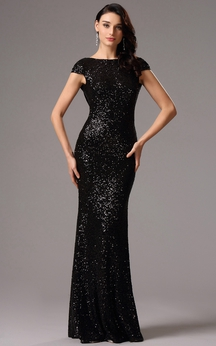 Sheath Floor-Length Bateau Short Sleeve Sequins Low-V Back Dress