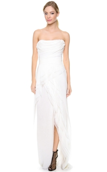 Long Asymmetrical Strapless Empire Taffeta Dress