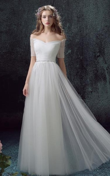Maxi Off-The-Shoulder Lace-Up Back Lace Dress
