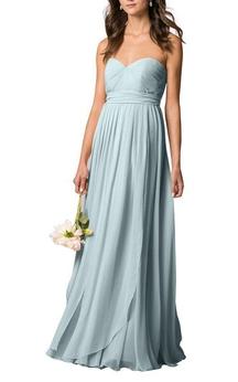Sweetheart Pleated Chiffon Long Bridesmaid Dress