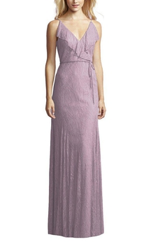 V-neck Lace Wrap Bodice Floor-length Bridesmaid Dress with Sash