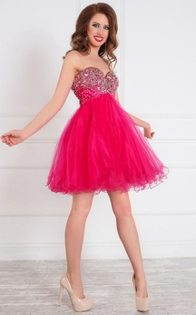 A-Line Short Sweetheart Sleeveless Tulle Beading Ruffles Zipper Dress