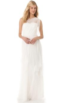 Long One-shoulder Sheath Organza Dress With Ruffles