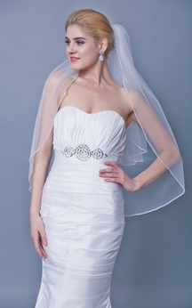Beaded Trim Two Tier Mid Length Veil Style