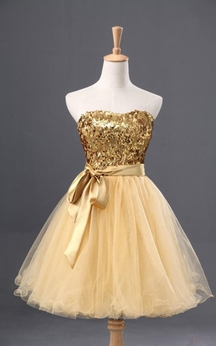 A-line Sequin Sleeveless Tulle Dress With Satin Sash