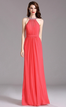 Empire Jewel Sleeveless Empire Chiffon Beading Dress