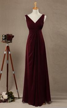 Elegant Sleeveless A-line Chiffon Long Dress V Neck V Back