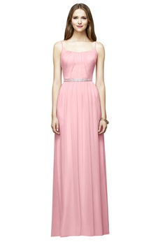 Chic Chiffon Long Sleeveless Dress With Beaded Sash