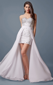 Sweetheart Highlow Dress With Colorful Rhinestones