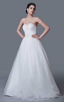 Gorgeous Strapless Backless Ball Gown With Beading Belt