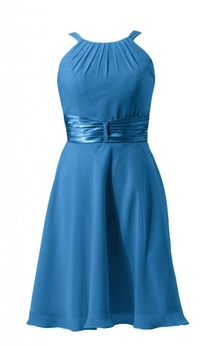 Sleeveless Ruched Sash Knee-length Layered Chiffon Dress