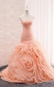 Trumpet Tea-Length Sleeveless Cap Dropped Corset Back Lace Organza Dress