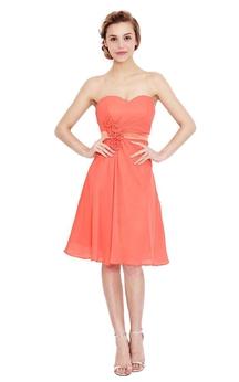 Glamorous Sweetheart Chiffon Dress With Floral Waist