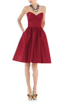 A-line Sweetheart Satin Knee-length Dress with Ruching