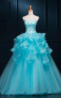 Ball Gown Long Straps Sleeveless Bell Appliques Ruffles Zipper Straps Tulle Sequins Dress