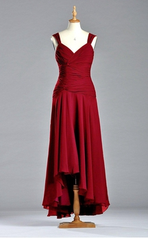 Sleeveless A-line V-neck Tea-length Chiffon Dress