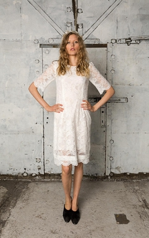 Half Sleeve Knee Length Lace Dress With Bateau Neckline