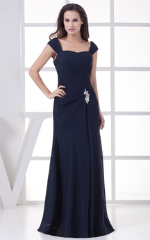Caped-Sleeve Maxi Ruched Dress With Broach