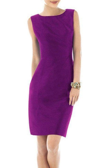 Sheath Sleeveless Short Satin Dress with Keyhole Back