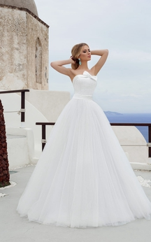 A-line Floor-length Strapless Sleeveless Tulle Dress With Bow
