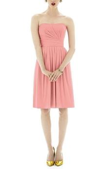 Strapless Ruched Short Chiffon Dress