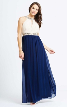 Beading-Neck A-Line Gown With Has Keyholes Beading Sash