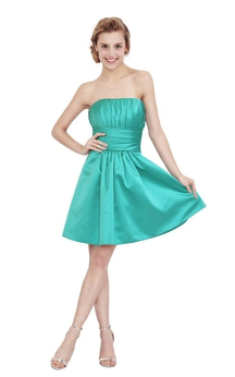 Impressive Strapless A-line Satin Dress With Pleats