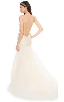 Long Trumpet Organza Dress With Backless Style and Spaghette Straps